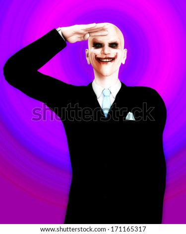 Very evil looking figure saluting - stock photo