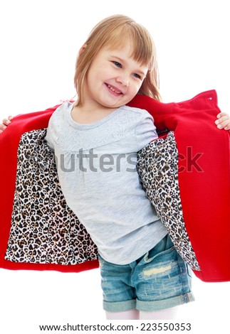 very fashionable little girl in a bright red coat Happy childhood, fashion, autumnal mood concept. Isolated on white background - stock photo