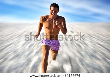 Very fast running man. Motion blur effect. - stock photo