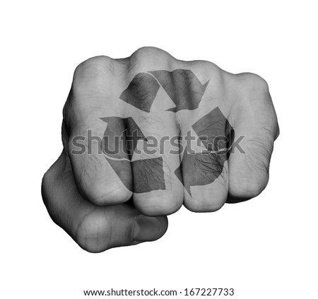 Very hairy knuckles from the fist of a man punching, recycle symbol - stock photo
