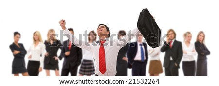 very happy businessman and his team on white - stock photo