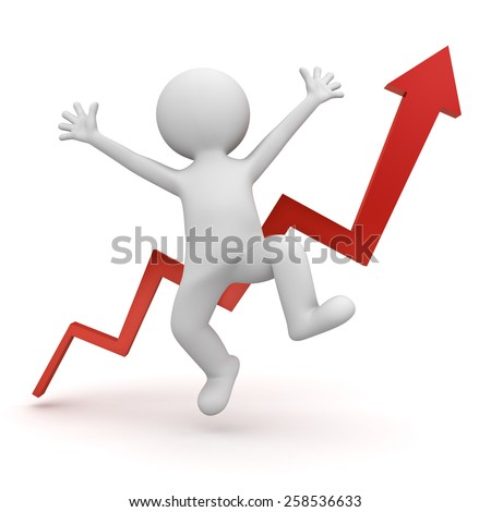 Very happy 3d man celebrating concept isolated over white background with red growth graph arrow - stock photo