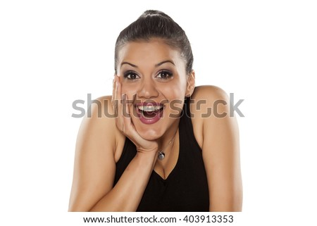 very happy dark skinned beautiful young woman - stock photo