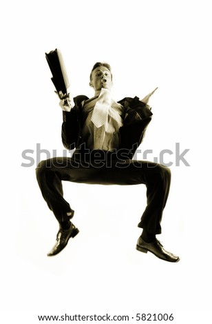 very happy energetic businessman jumping into the air - stock photo
