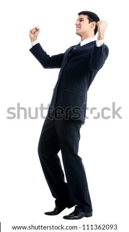 Very happy successful gesturing young business man, isolated over white background - stock photo