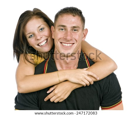 Very Happy Young Couple On White Background - stock photo