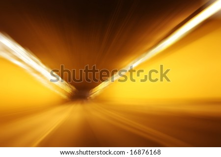 Very high speed drive through a tunnel - stock photo