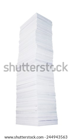 Very high stack of paper on white background - stock photo