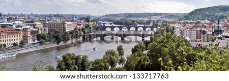 Very large panoramic view of the city of Prague, Czech Republic - stock photo