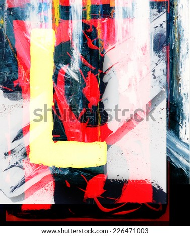 Very Large scale Original Abstract Painting On Canvas - stock photo