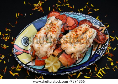 Very large, very succulent , very good Australian Lobster Tails - stock photo
