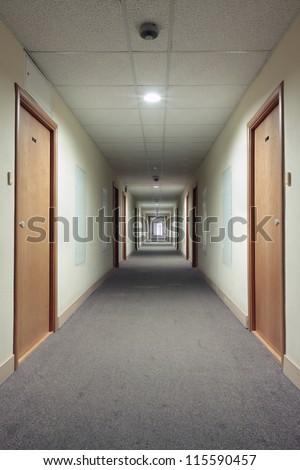 Very long corridor - stock photo