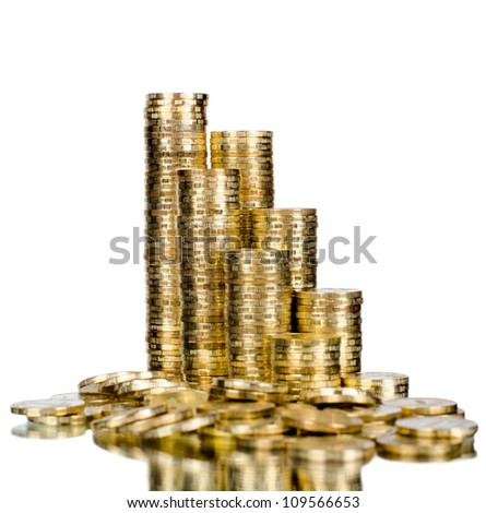 very many rouleau gold  monetary or change coin, on white background, isolated - stock photo
