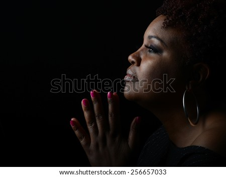 Very Nice Emotional Image of a beautiful Afro American Woman giving Thanks - stock photo
