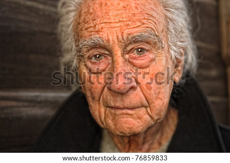 Very nice emotional portrait of a elderly man - stock photo