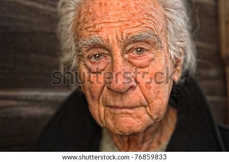 Very nice emotional portrait of a elderly man - stock photo