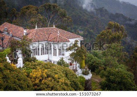 Very nice old building at the Monserrate, Bogota, Colombia well worth the trip up - stock photo