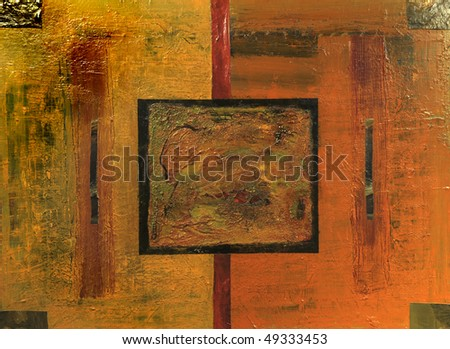 Very Nice Original Abstract oil painting On Canvas - stock photo