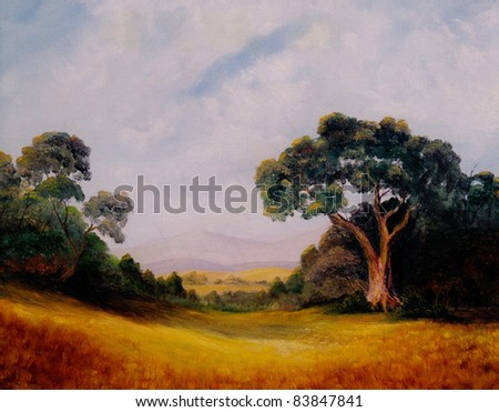 Very Nice Original Landscape oil painting On canvas - stock photo