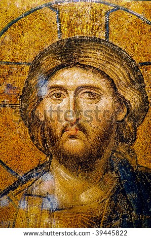 Very old and beautiful Jesus Christ Portrait face. Useful file for your christmas brochure, religious material and other purposes. - stock photo