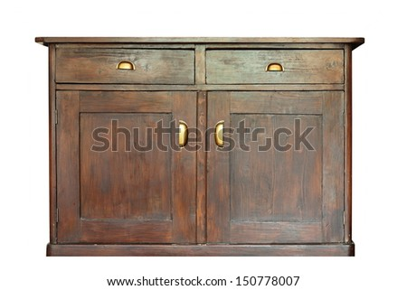 very old beautiful wooden furniture isolated over white - stock photo