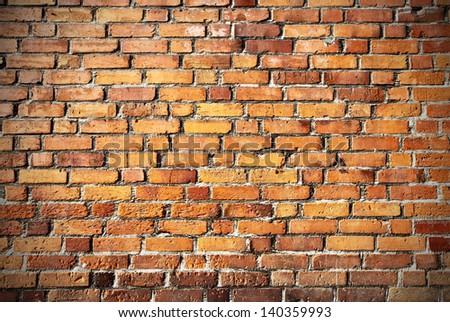 Very old brick wall - stock photo