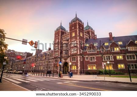 Very old building in University of Pennsylvania in Philadelphia, Pennsylvania  - stock photo