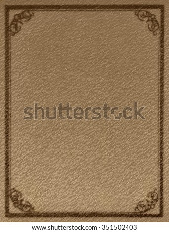 Very old empty book cover made of embossed leather. Vintage border design. - stock photo