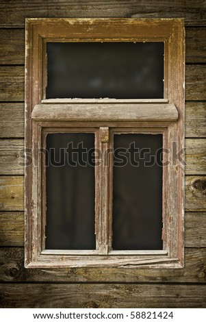 Very old grunged wooden window - stock photo