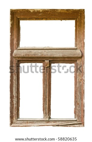 Very old grunged wooden window frame isolated in white - stock photo