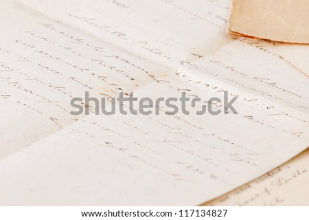 very old handwritten text contract or agreement - stock photo