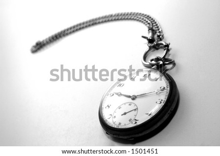 Very old pocket watch in Black And White - stock photo