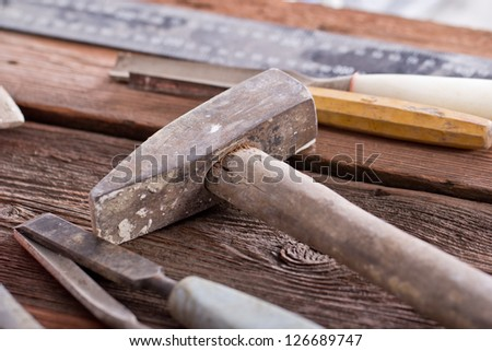 very old rusty woodworking tools - stock photo