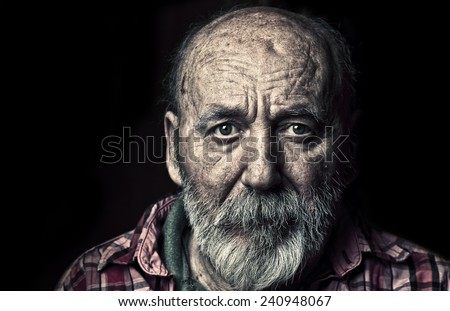 Very old senior man - stock photo