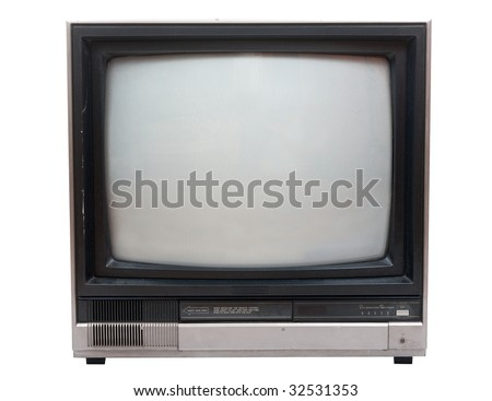 Very old TV set isolated over white in studio. Clipping path included. - stock photo