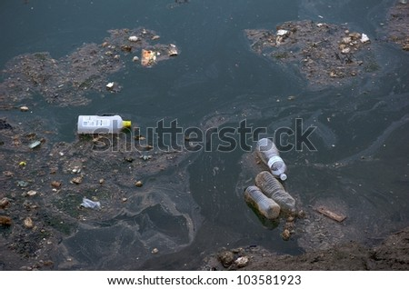 Very polluted sea - stock photo