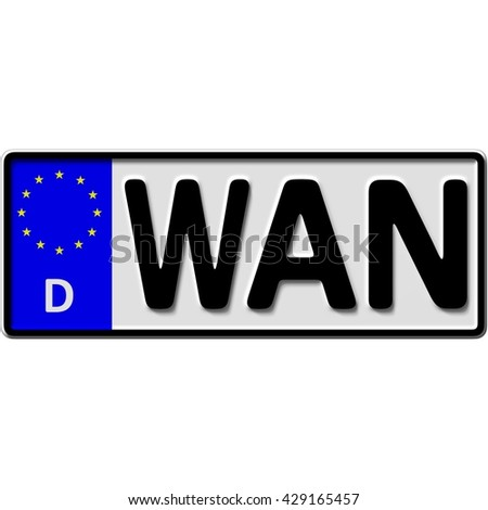 very popular and recently approved optional license plate number for Wanne-Eickel (german city-name), 3D-Illustration - stock photo