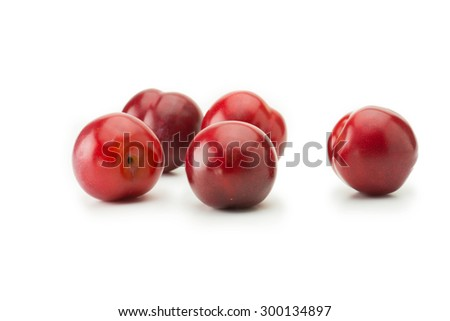 Very ripe fresh harvested plums, isolated on white. Five shiny red plums on white surface. - stock photo