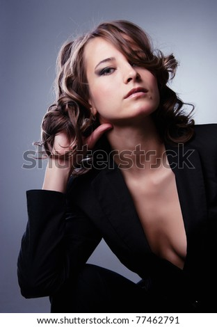very sexy beautiful businesswoman - stock photo