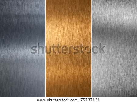 Very sharp and clean and detailed aluminum and bronze stitched textures - stock photo