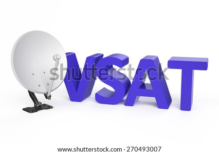 Very-small-aperture terminal (VSAT) service concept isolated on white background - stock photo