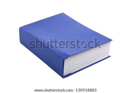 Very thick blue book isolated on white background - stock photo