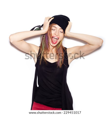 Very upset and emotional woman over white background, not isolated. Beautiful Girl opening Mouth. Emotion.  Hairstyle. Makeup.   - stock photo