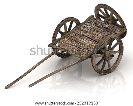 Very very Old wagon cart with wooden wheels isolated on white background - stock photo