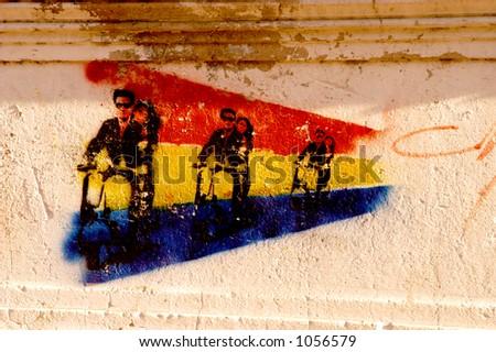Vespa Street Art - stock photo