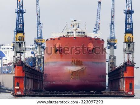 Vessel in a shipyard in Hamburg, Germany - stock photo