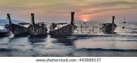 Vessel Island Morning Coastline Summer Concept - stock photo
