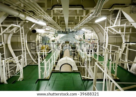 Vessel's ( Ship ) Engine Room Space - stock photo