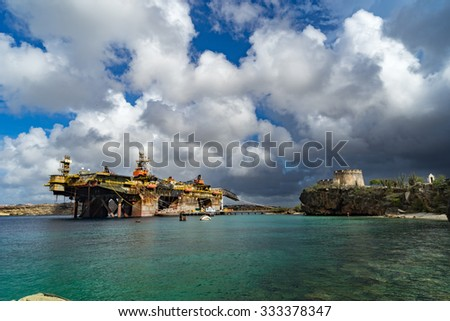 Vessels at the end of Caracaasbaai Views around Curacao a Caribbean Island  - stock photo