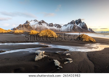 Vesturhorn Mountain and black sand dunes, Iceland - stock photo